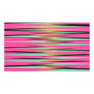 Teal Yellow Black and Pink Stripes Business Cards