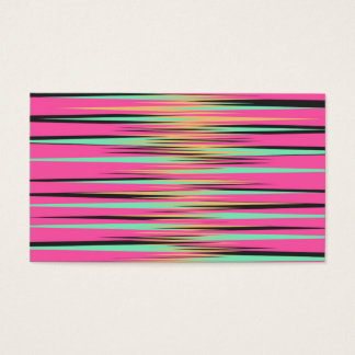 Teal, Yellow, Black, and Pink Stripes Business Card