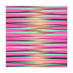 Teal, Yellow, Black, and Pink Stripes Canvas Prints