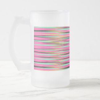 Teal, Yellow, Black, and Pink Stripes Frosted Glass Beer Mug