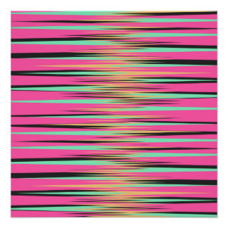 Teal, Yellow, Black, and Pink Stripes Poster