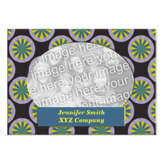 Teal yellow black circles photo frame business cards