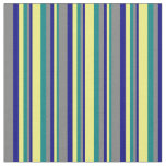 [ Thumbnail: Teal, Yellow, Blue & Gray Colored Lines Fabric ]