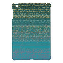 Teal Yellow Broken Lines Abstract Pattern iPad Mini Cases