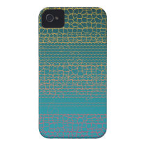 Teal Yellow Broken Lines Abstract Pattern iPhone 4 Cover
