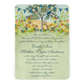 Teal Yellow Bunting Love Bird & Bird Cage Wedding Announcements