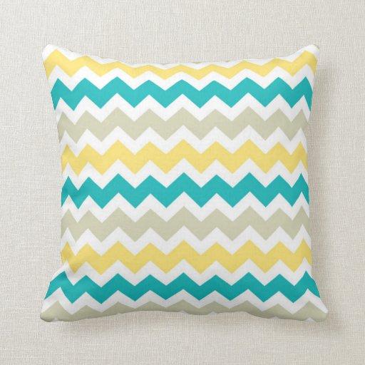 Teal Yellow Chevron Decorative Pillow Zazzle