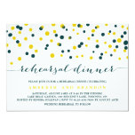 Teal & Yellow Confetti Dots Rehearsal Dinner Card