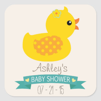 Teal & Yellow Duckling, Duck; Baby Shower Square Sticker