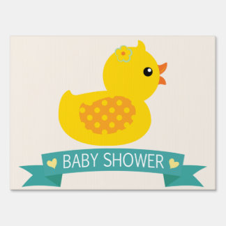 Teal & Yellow Duckling, Duck; Baby Shower Yard Signs