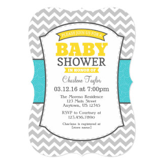 Teal Yellow Gray Chevron Baby Shower Invitation