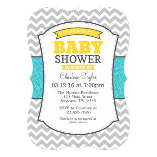 Teal Yellow Gray Chevron Baby Shower Invitation