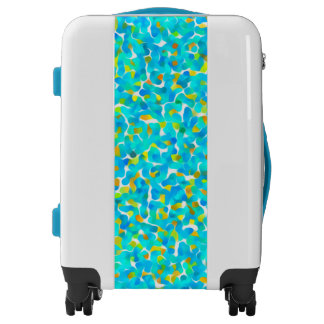Teal Yellow Green Blue Black Abstract Pattern Luggage