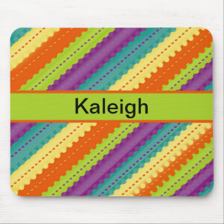 Teal, Yellow, Orange, and Purple Stripes Mouse Pad