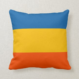 Teal, Yellow, Orange Stripes Throw Pillow