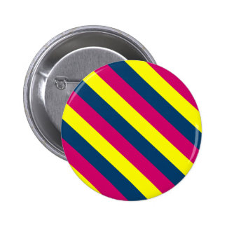 Teal, Yellow, Pink, Stripes Button