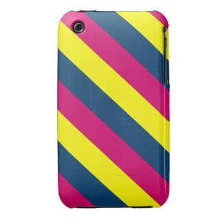 Teal, Yellow, Pink, Stripes iPhone 3 Covers