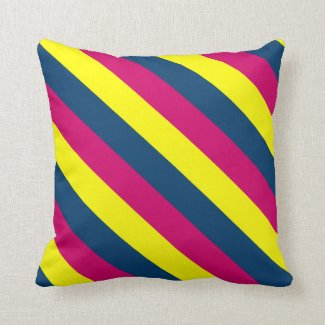 Teal, Yellow, Pink, Stripes Throw Pillow