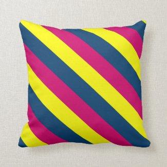 Teal, Yellow, Pink, Stripes Throw Pillow