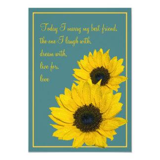 Teal Yellow Sunflower Wedding Invitation