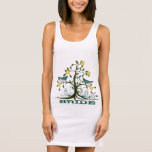 Teal & Yellow Tree Love Bird Vintage Weddings Sleeveless Dress
