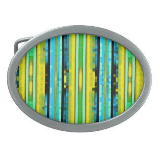 Teal Yellow Trendy Bright Artsy Stripes Pattern Oval Belt Buckle