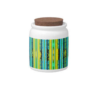 Teal Yellow Trendy Bright Artsy Stripes Pattern Candy Dishes
