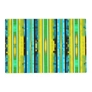 Teal Yellow Trendy Bright Artsy Stripes Pattern Placemat