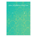 Teal & Yellow Vintage Background Earring Cards Large Business Cards (Pack Of 100)