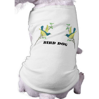 Teal & Yellow Vintage Birds on Branch Dog T-shirt
