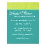 "Teal & Yellow Vintage  Bridal Shower Invitations 4.25"" X 5.5"" Invitation Card"