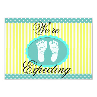 """Teal & Yellow """"We're Expecting"""" Announcement"""