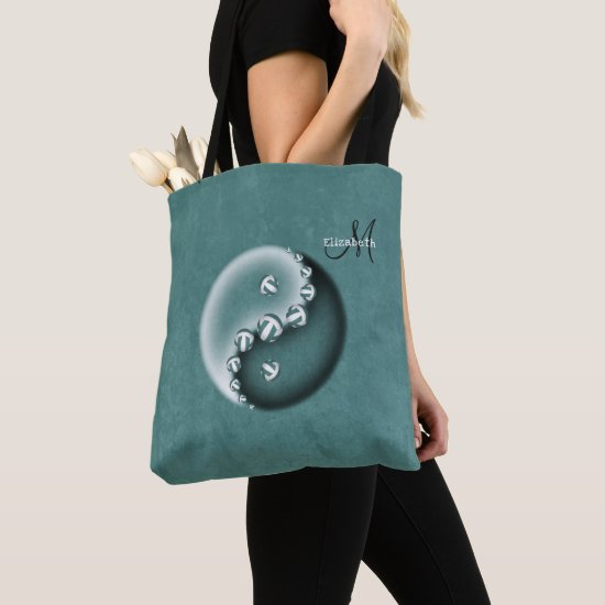 teal yin and yang volleyball monogrammed women's tote bag