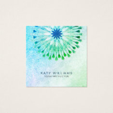 Teal Yoga Instructor Lotus Flower Watercolor Beach Square Business Card at Zazzle