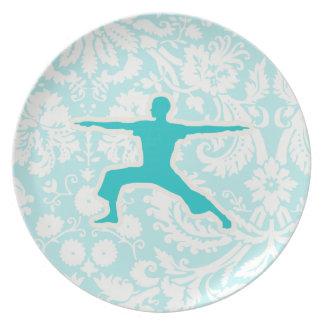 Teal Yoga Melamine Plate