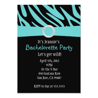 Teal Zebra Bachelorette Party Invitation