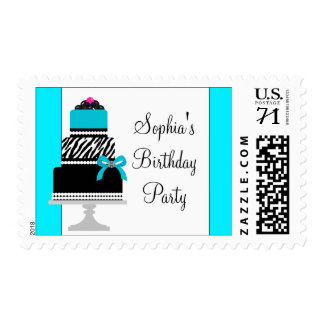Teal Zebra Birthday Cake Postage Stamps