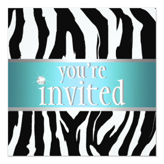 Teal Zebra Birthday Invitation