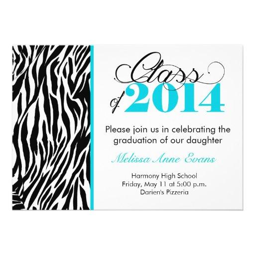 Teal Zebra Class of 2014 Graduation Invitation