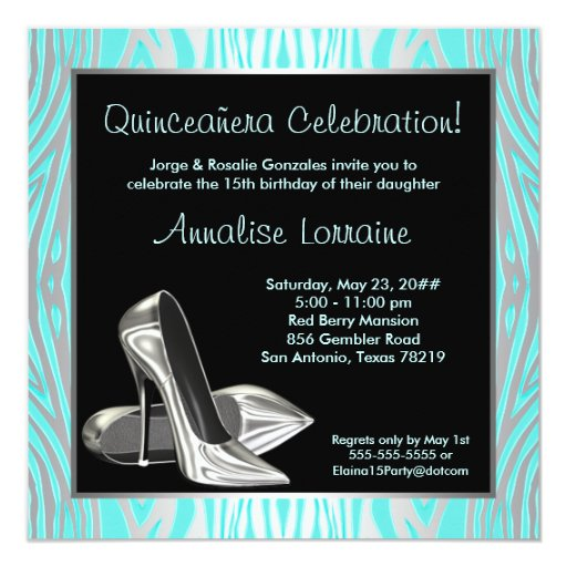 Teal Zebra High Heels Quinceanera 15th Party 5.25x5.25 Square Paper Invitation Card