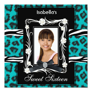 Teal Zebra Leopard Sweet Sixteen 16 Black White 5.25x5.25 Square Paper Invitation Card