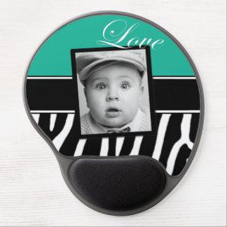 Teal Zebra Photo Mousepad Gel Mouse Pad