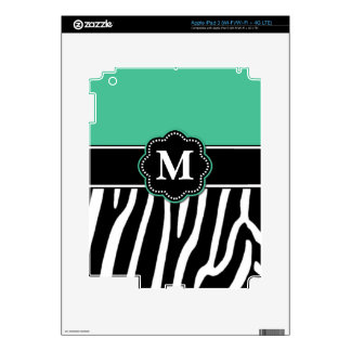 Teal Zebra Print Personalized Case Skins For iPad 3