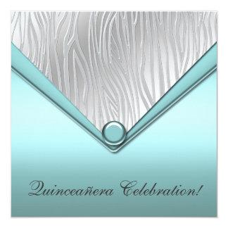 Teal Zebra Quinceanera 15th Birthday Invitation