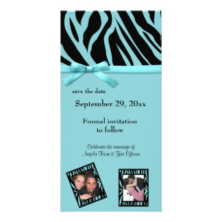 Teal Zebra Save The Date Announcement