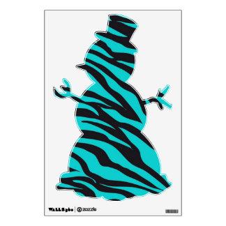 Teal Zebra Stripe Snowman Christmas Wall Decals