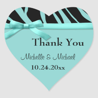 Teal Zebra Stripes And Bow Thank You Sticker