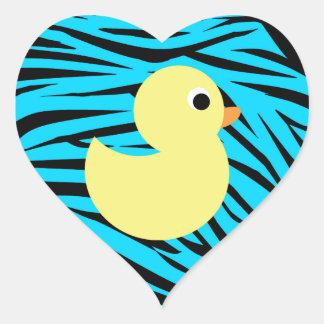 Teal Zebra Stripes Yellow Duck Heart Sticker