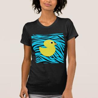 Teal Zebra Stripes Yellow Duck Shirts