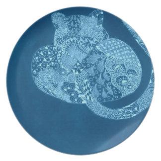 Teal Zentangle Leopard Plate
